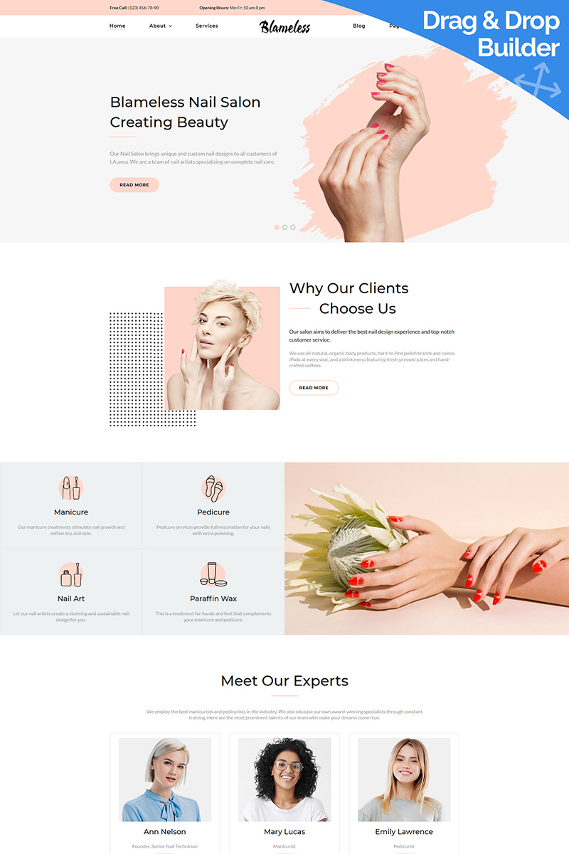 "Moto CMS 3 Template namens ""Blameless - Nail Art"" #94293 - Screenshot"