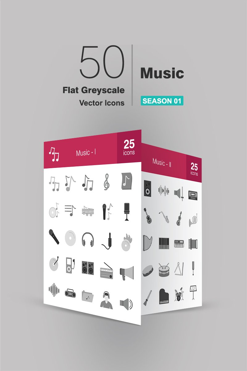 50 Music Flat Greyscale Iconset Template