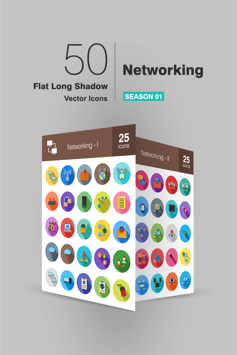 50 Networking Flat Long Shadow Iconset Template