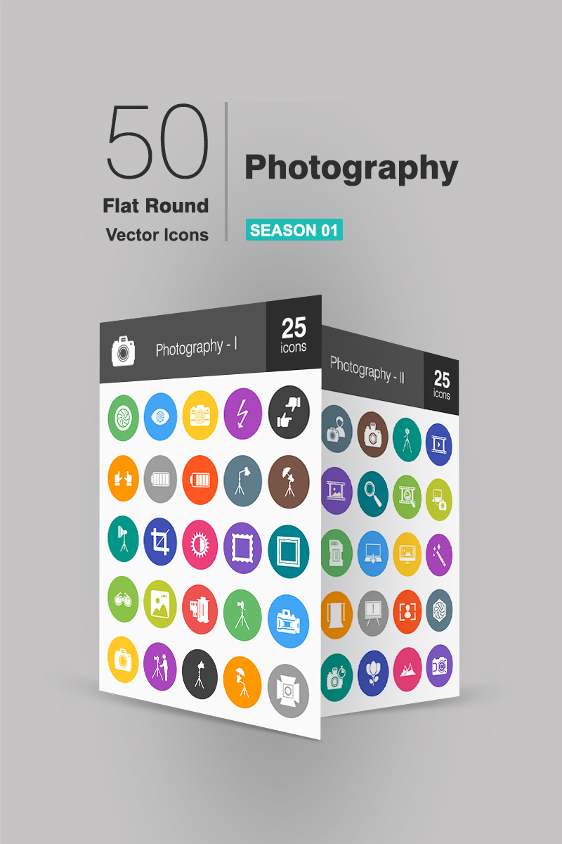50 Photography Flat Round Iconset Template