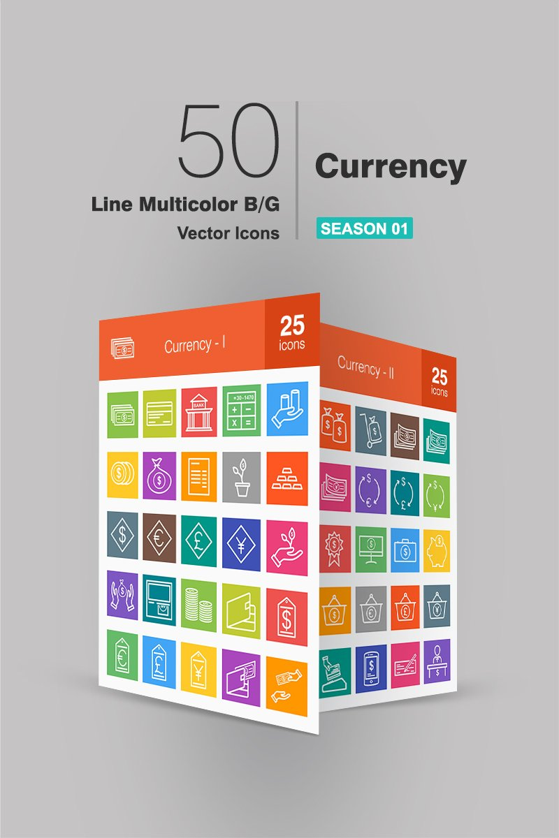 "Plantilla De Conjunto De Iconos ""50 Currency Line Multicolor B/G"" #94276"