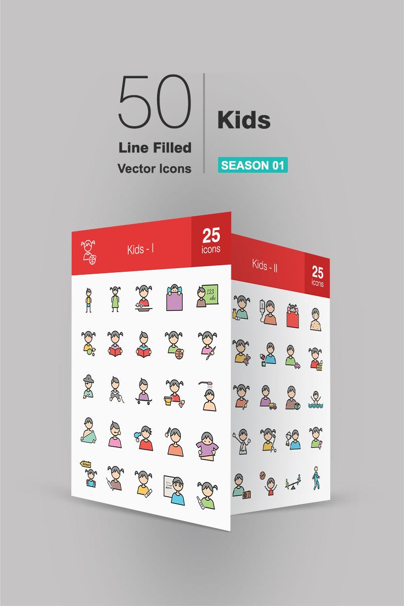 """Plantilla De Conjunto De Iconos """"50 Kids Filled Line"""" #94275"""