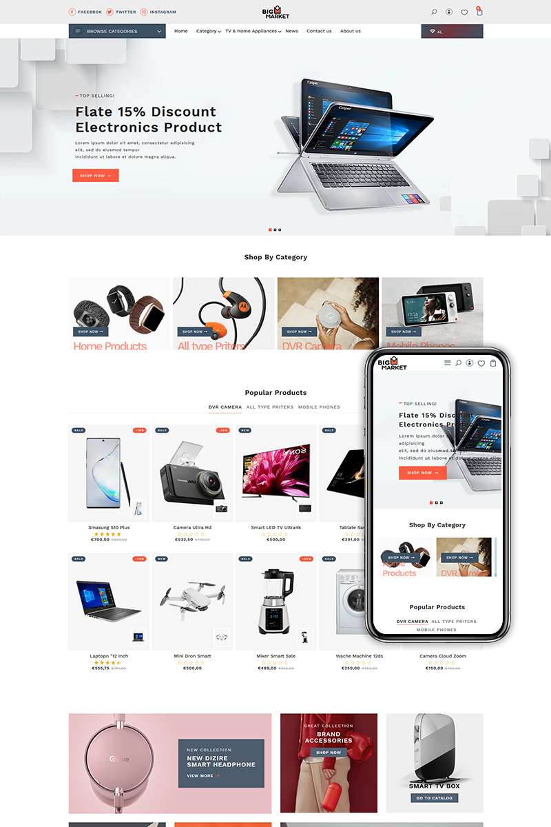 Reszponzív Bigmarket - The Electronics & Smartphones premium Shopify sablon 94210