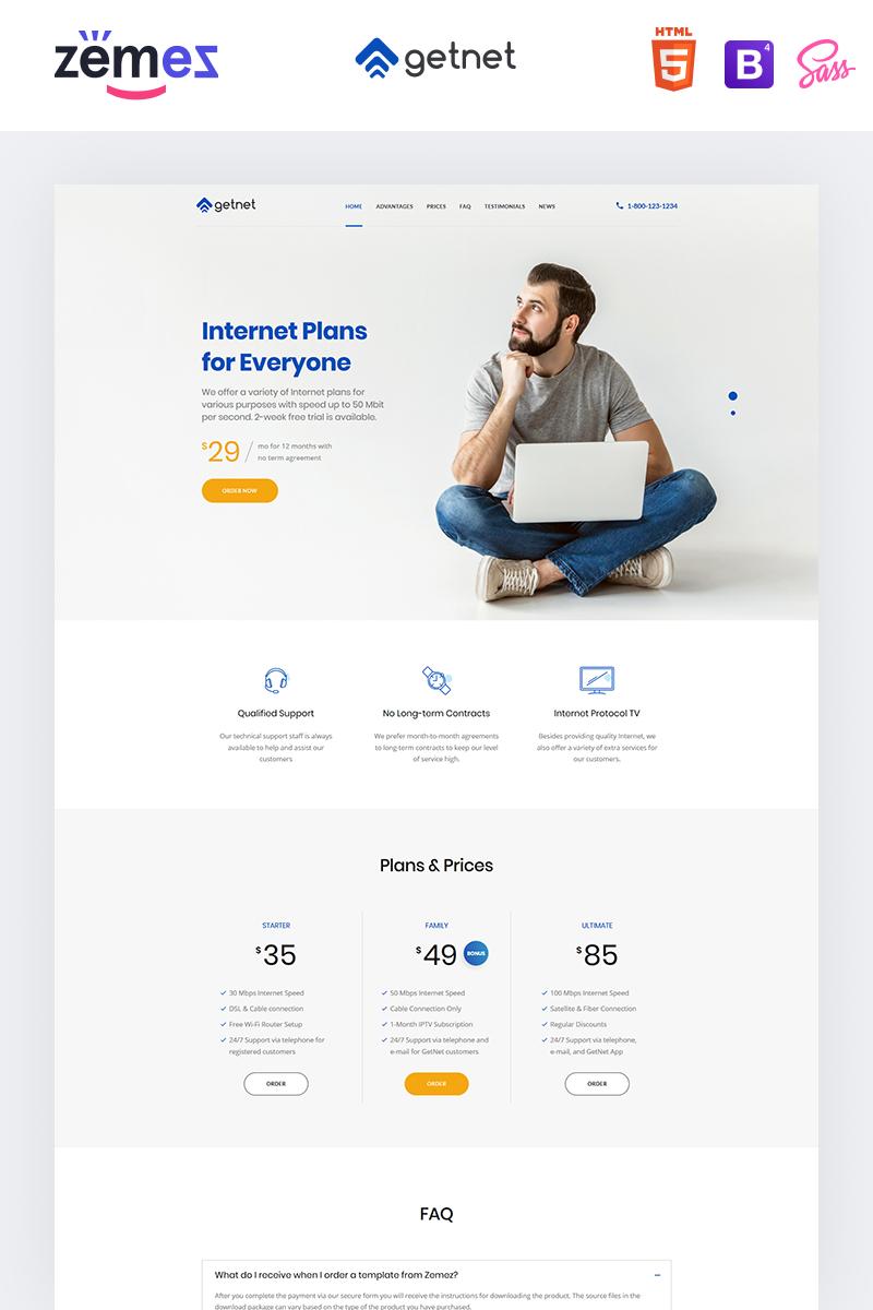 Reszponzív GetNet - Internet Service Provider Nyítóoldal sablon 94209