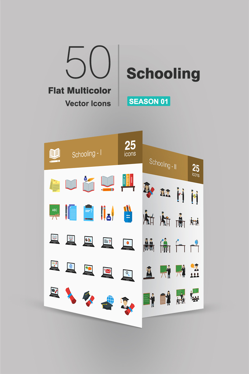 50 Schooling Flat Multicolor Iconset Template