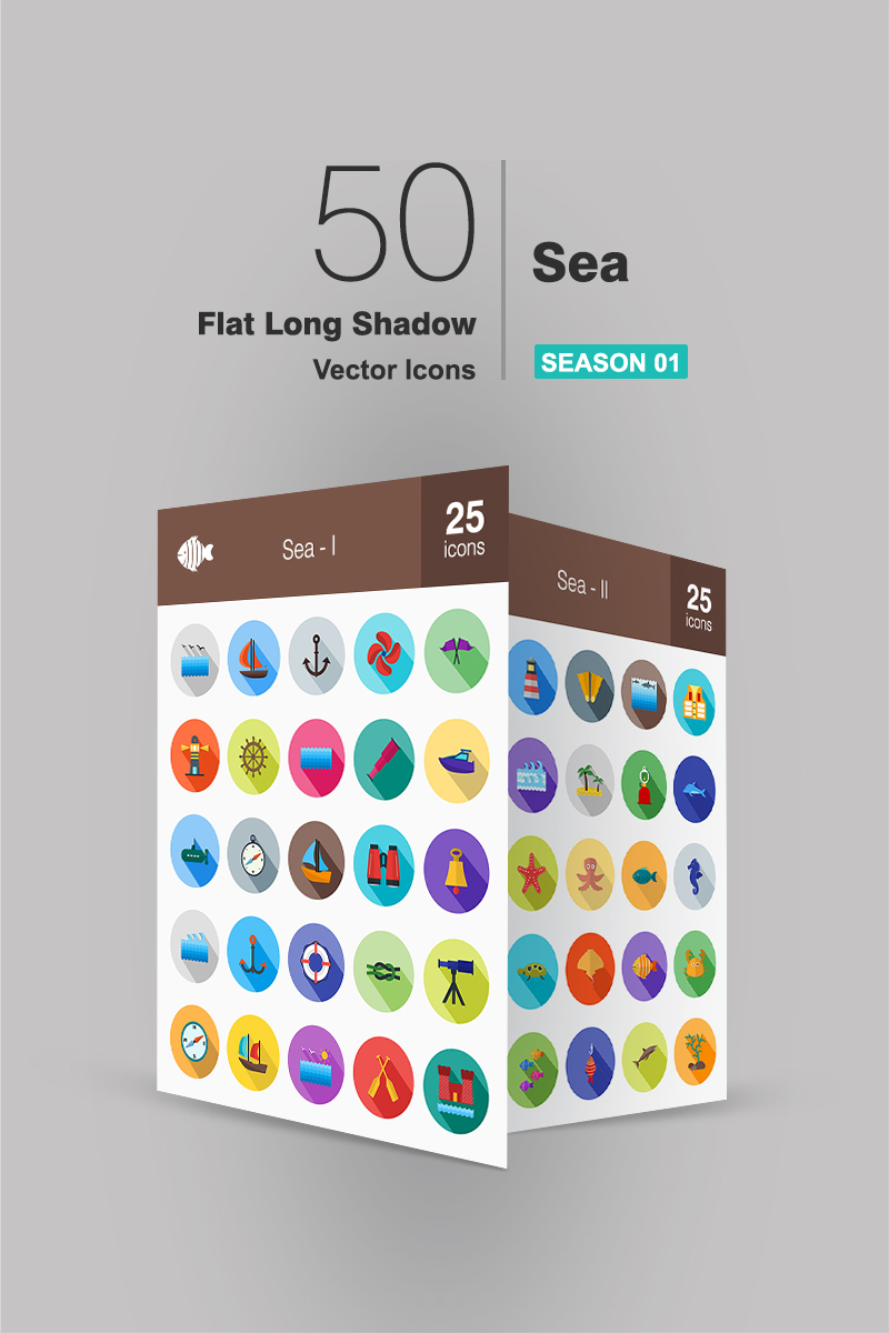 50 Sea Flat Long Shadow Iconset Template
