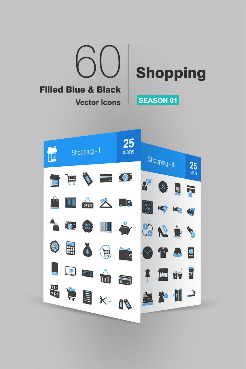 60 Shopping Filled Blue & Black Iconset Template