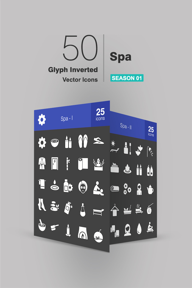 50 Spa Glyph Inverted Iconset Template