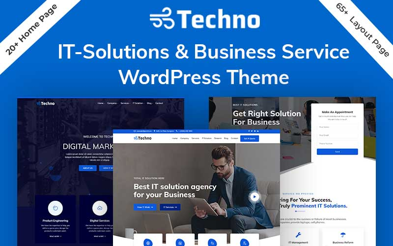 """Techno - IT Solutions & Business Service"" Responsive WordPress thema №94212"