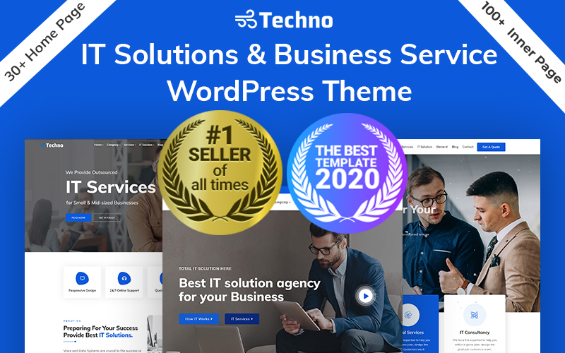 Techno - IT Solutions & Business Consulting WordPress Theme Tema WordPress №94212