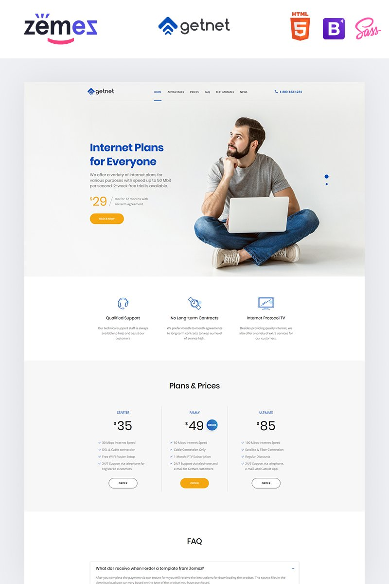 "Tema di Landing Page Responsive #94209 ""GetNet - Internet Service Provider"""
