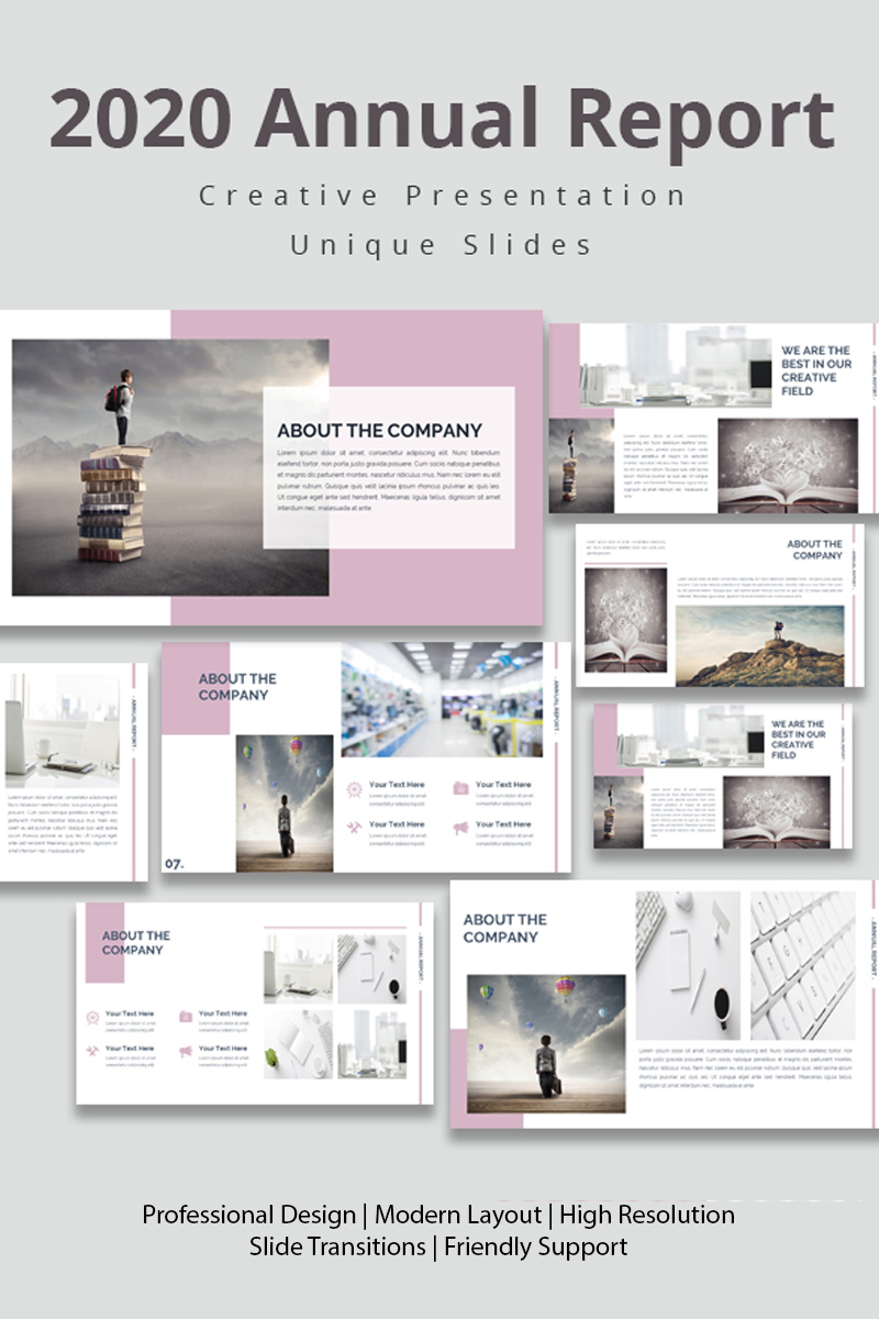 """Template PowerPoint #94234 """"Annual Report 2020"""""""