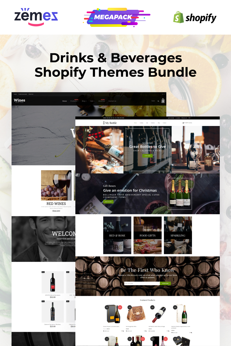 "Template Shopify #94213 ""Wine and Beverages Themes Bundle"""