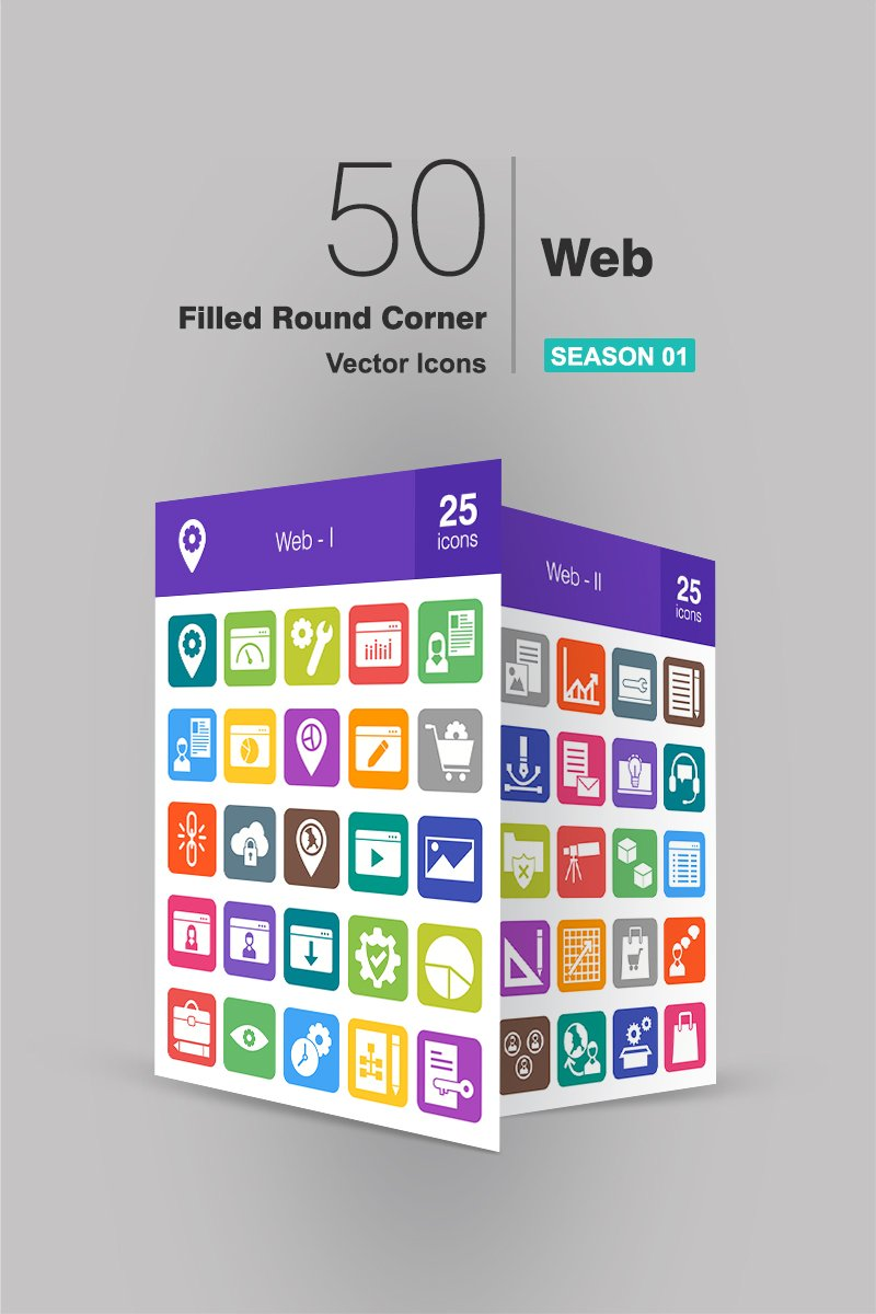 50 Web Filled Round Corner Iconset Template