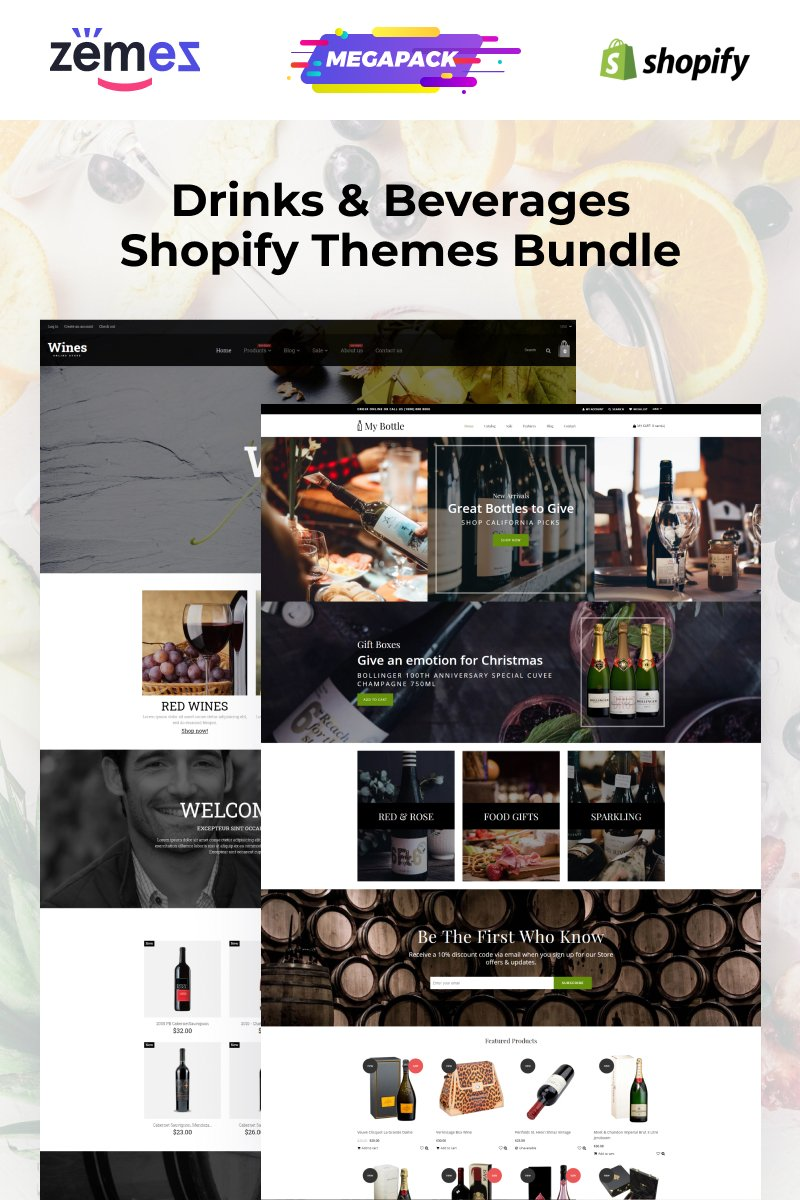 """Wine and Beverages Themes Bundle"" Shopify Thema №94213"
