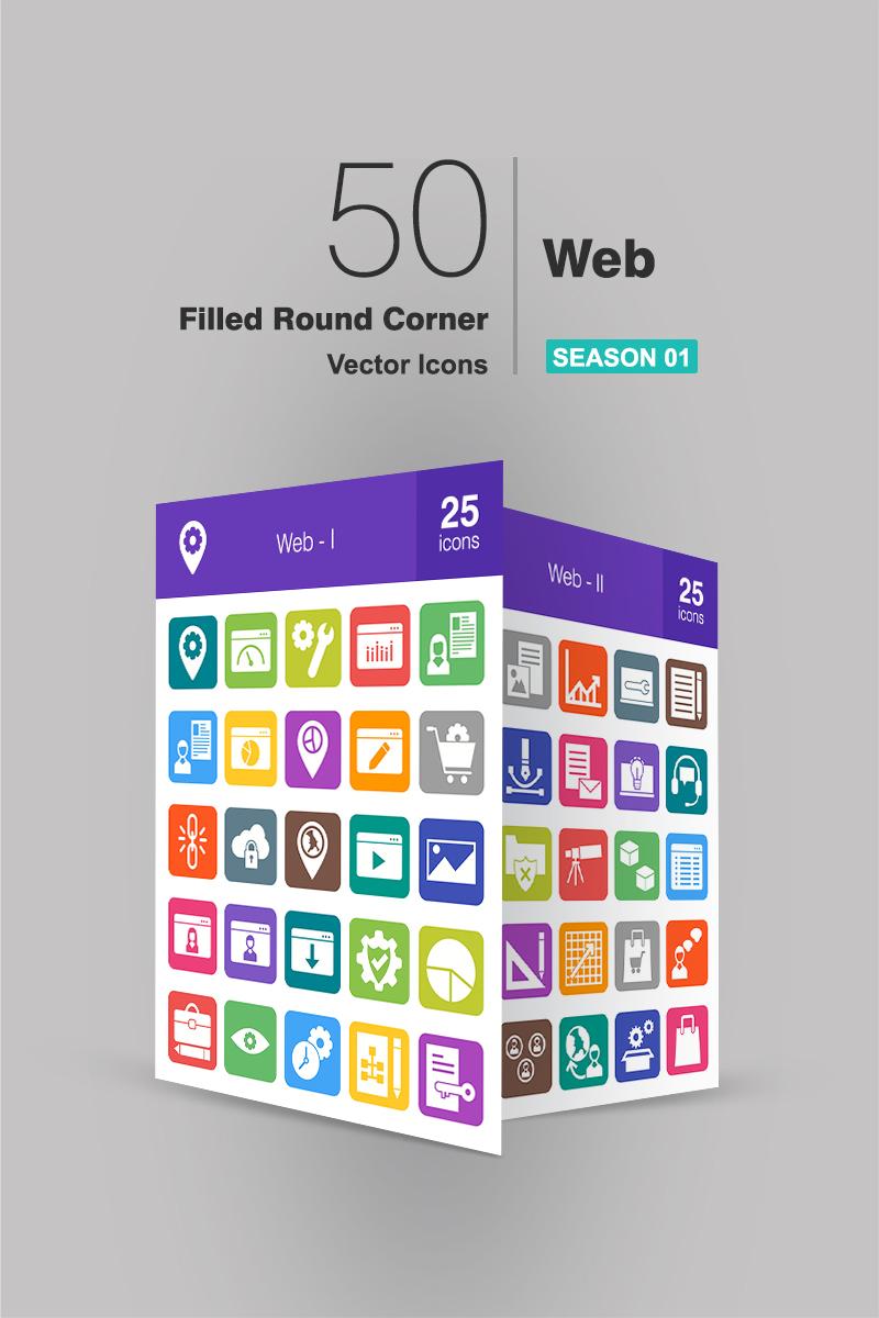 Zestaw Ikon 50 Web Filled Round Corner #94281