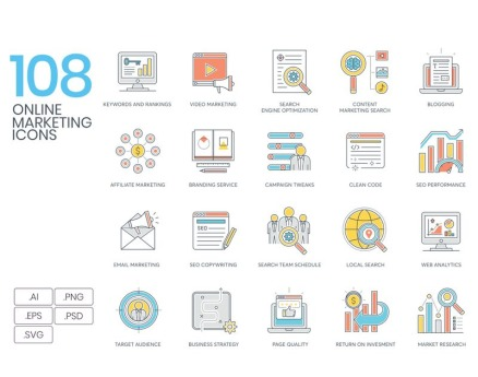 108 Online Marketing Icons - Color Line Series Icon Set