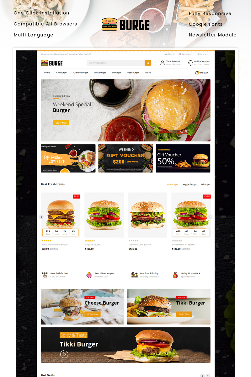 """Burge - Fast Food Store"" Responsive OpenCart Template №94382"