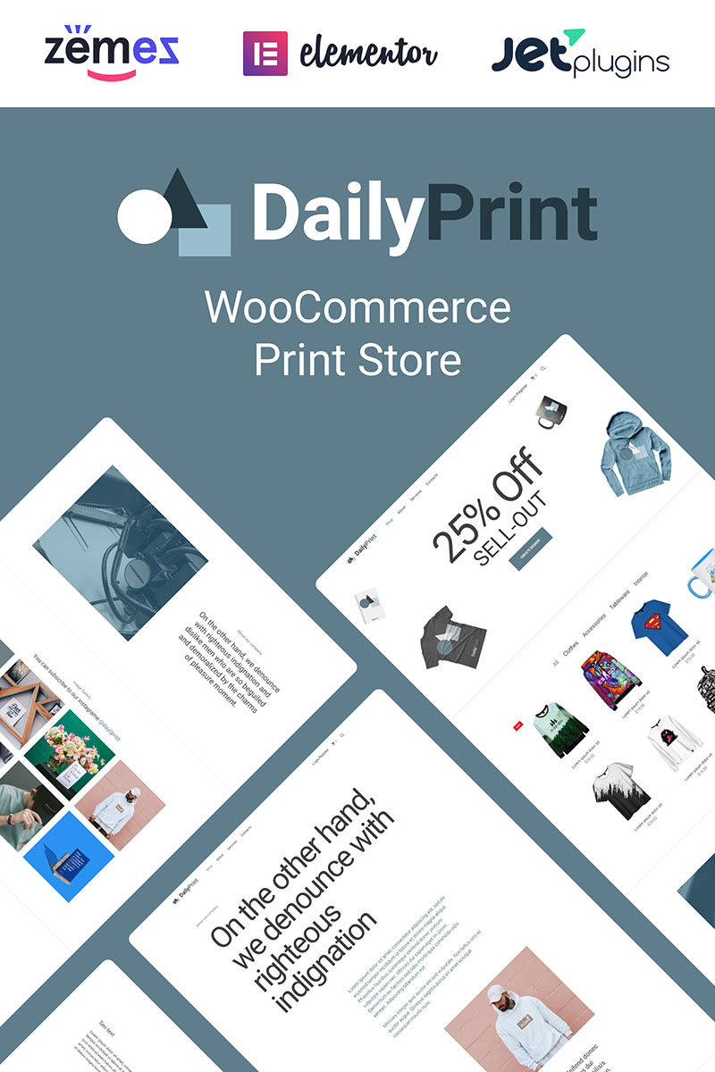 """DailyPrint - Multipurpose Web To Print"" Responsive WooCommerce Thema №94399"