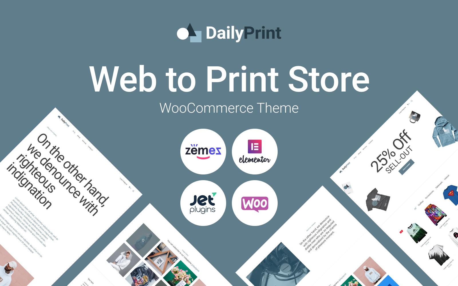 """DailyPrint - Multipurpose Web To Print"" 响应式WooCommerce模板 #94399"