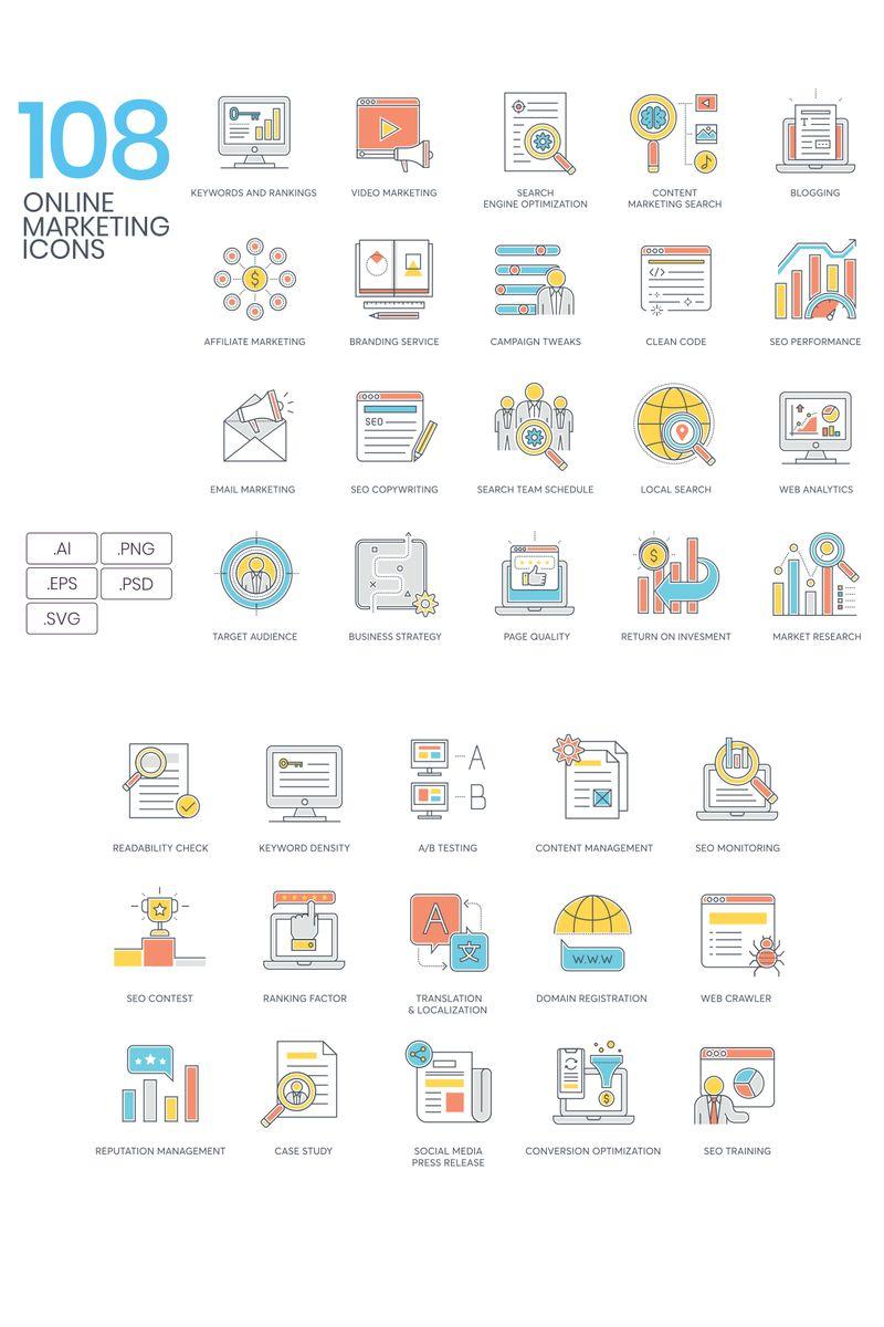 108 Online Marketing Icons - Color Line Series Conjunto de Ícones №94318