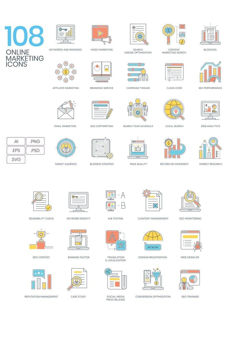 """""""108 Online Marketing Icons - Color Line Series"""" ensemble d'Icônes  #94318"""