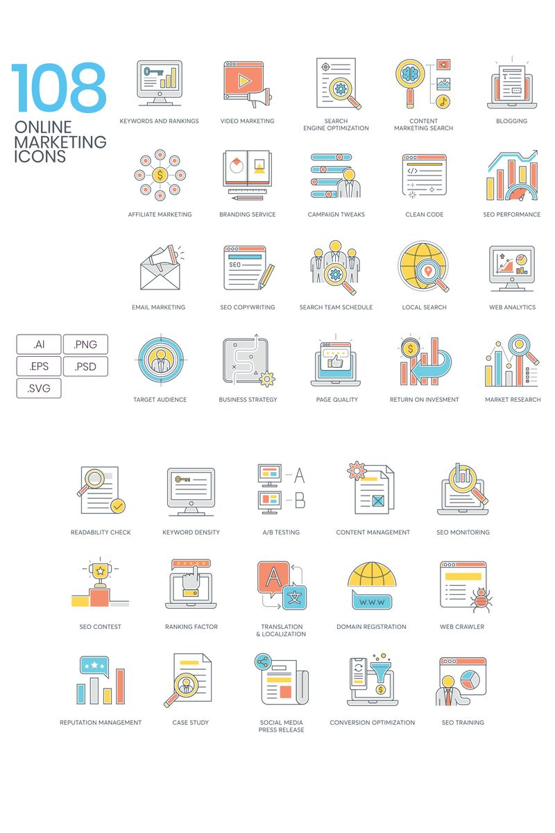 108 Online Marketing Icons - Color Line Series Iconset Template