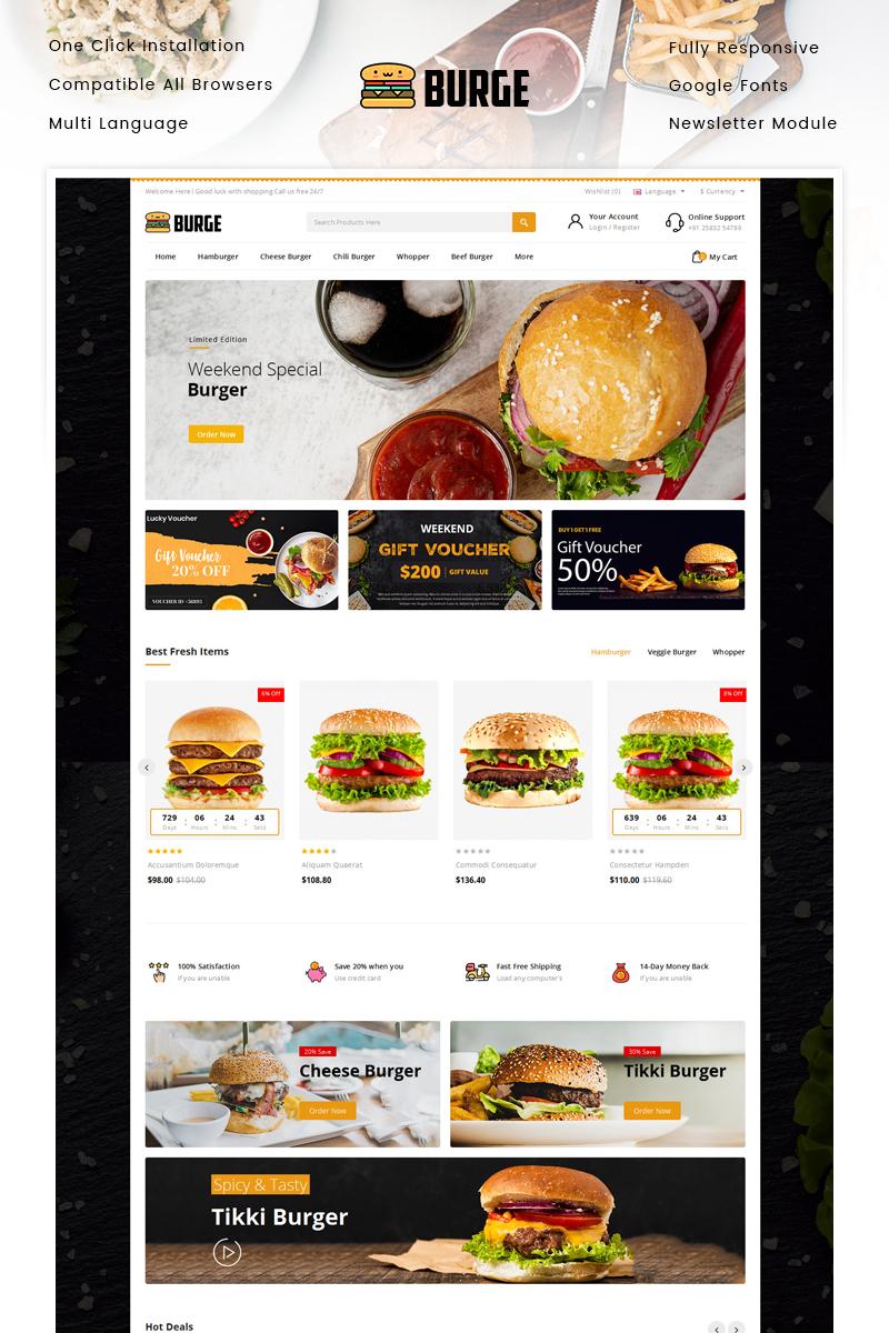 "OpenCart Vorlage namens ""Burge - Fast Food Store"" #94382"