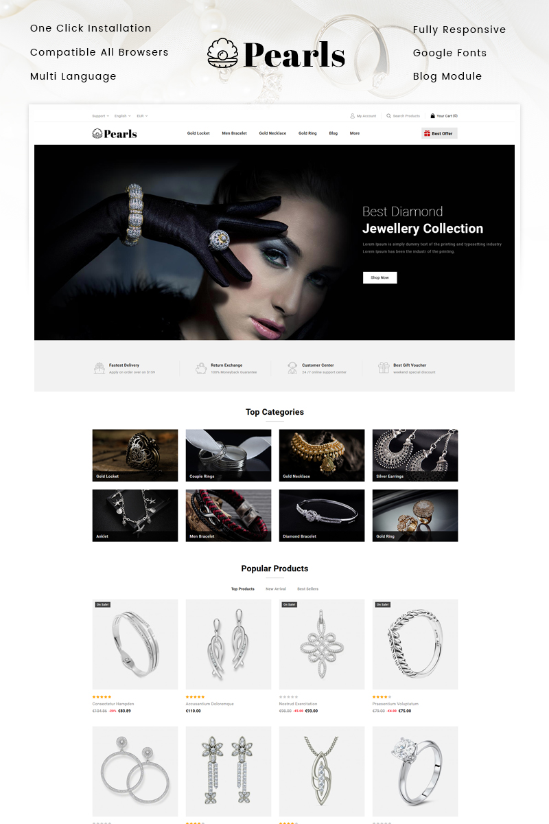"""Pearls - Jewellery Store"" Responsive PrestaShop Thema №94381"
