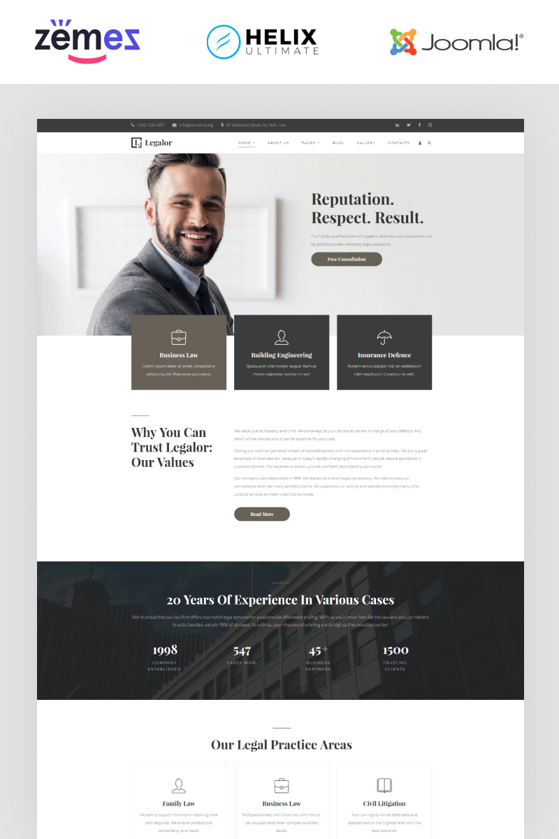 "Plantilla Joomla ""Legalor - Lawyer Multipage Clean Joomla Theme"" #94398"