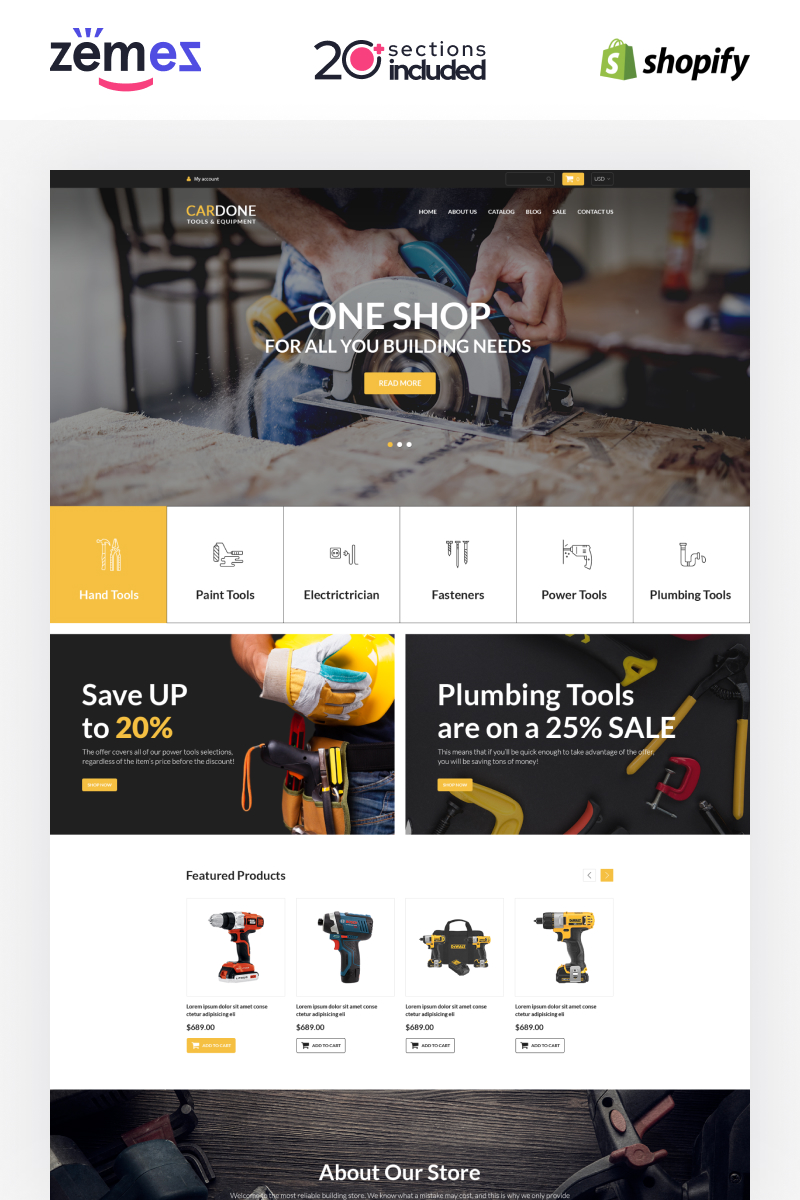 Responsivt Power Tools Shopify-tema #94397