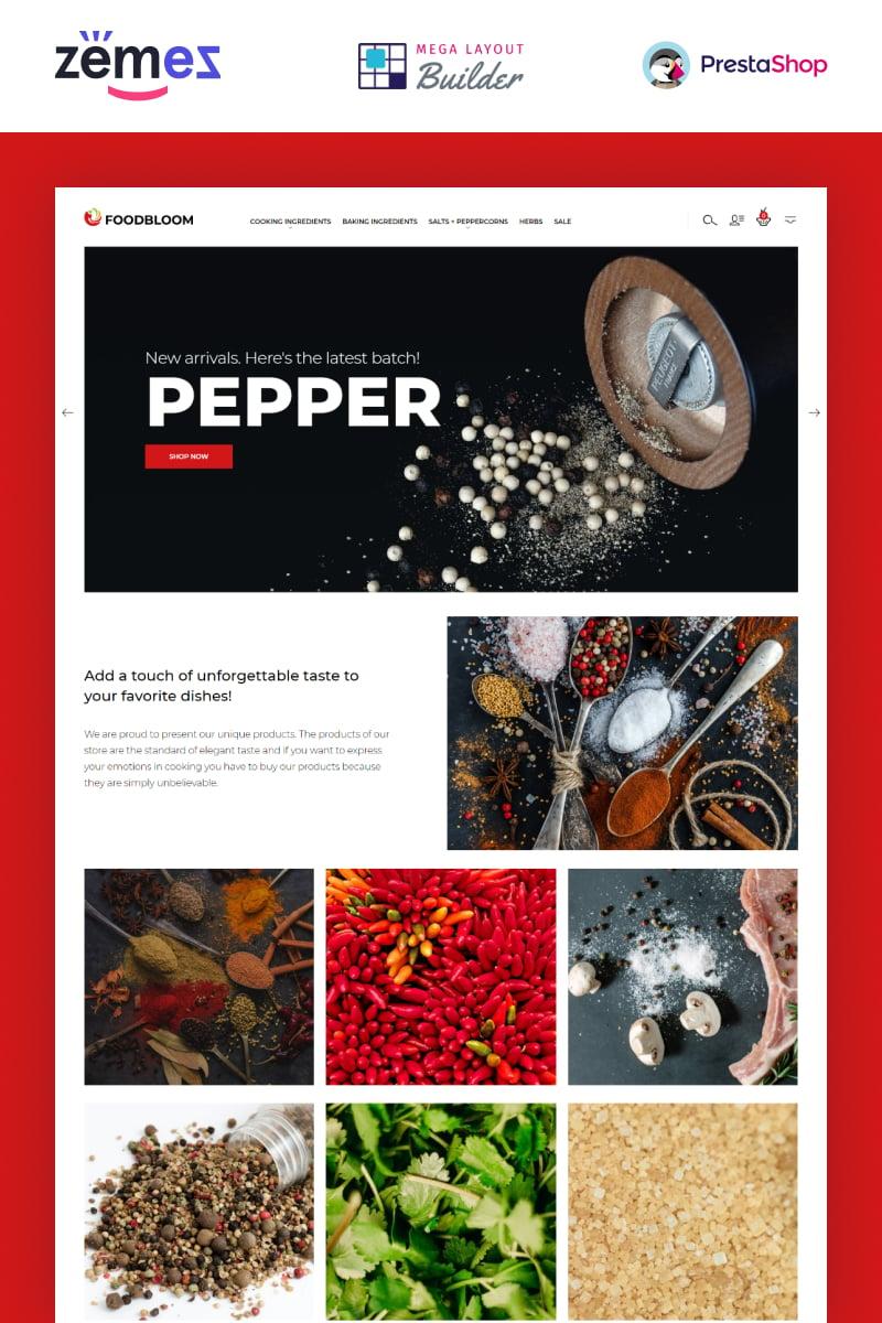 Reszponzív FoodBloom - Spices Store eCommerce Template PrestaShop sablon 94386