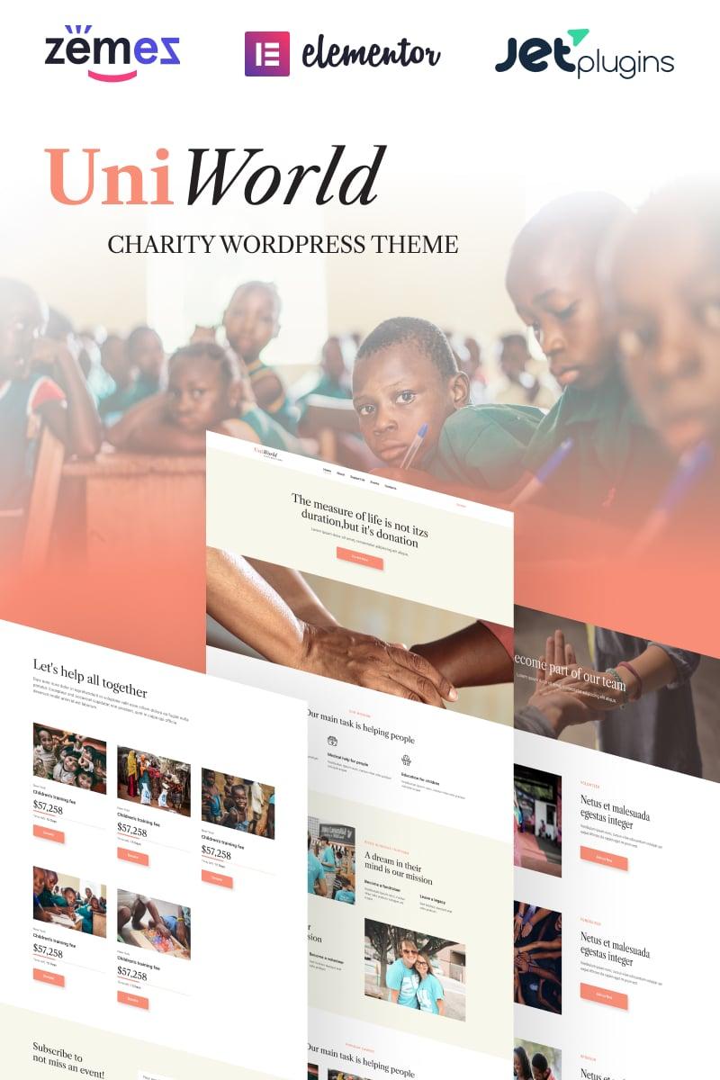 Reszponzív UniWorld - Donations Charity WordPress sablon 94384 - képernyőkép