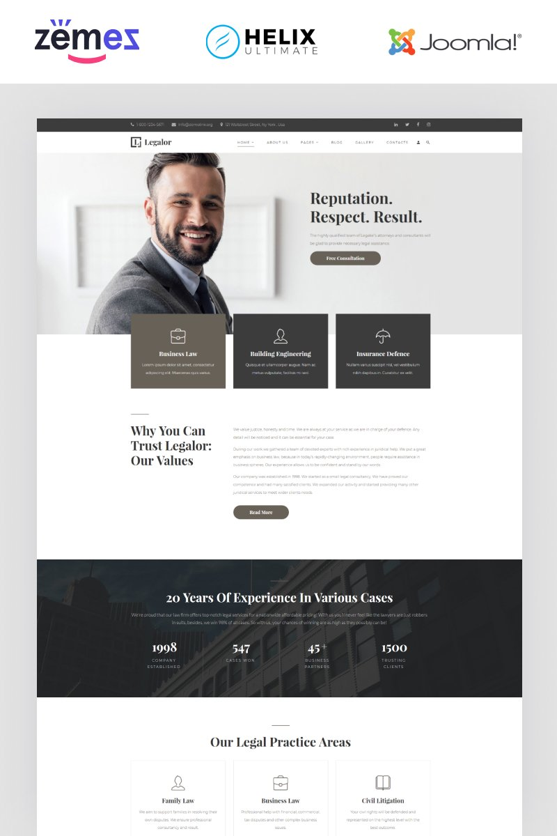 "Tema Joomla Responsive #94398 ""Legalor - Lawyer Multipage Clean Joomla Theme"""