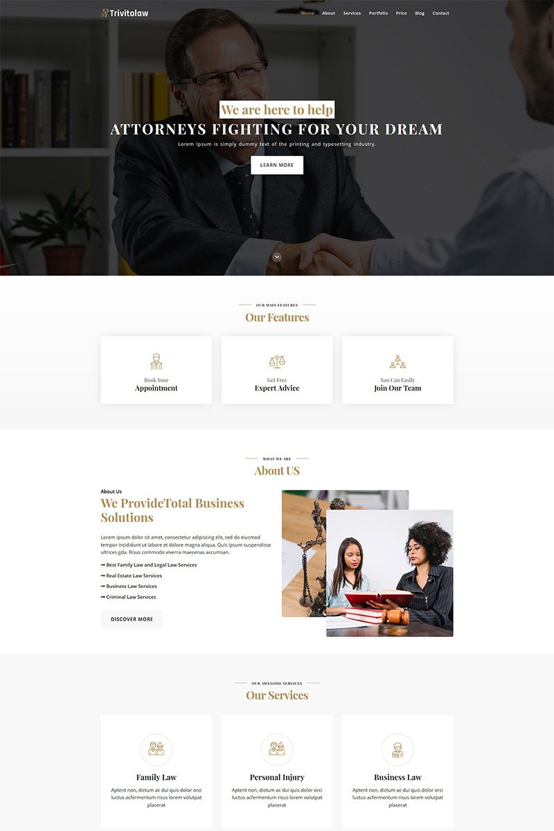 Trivitolaw Landing Page Template - screenshot