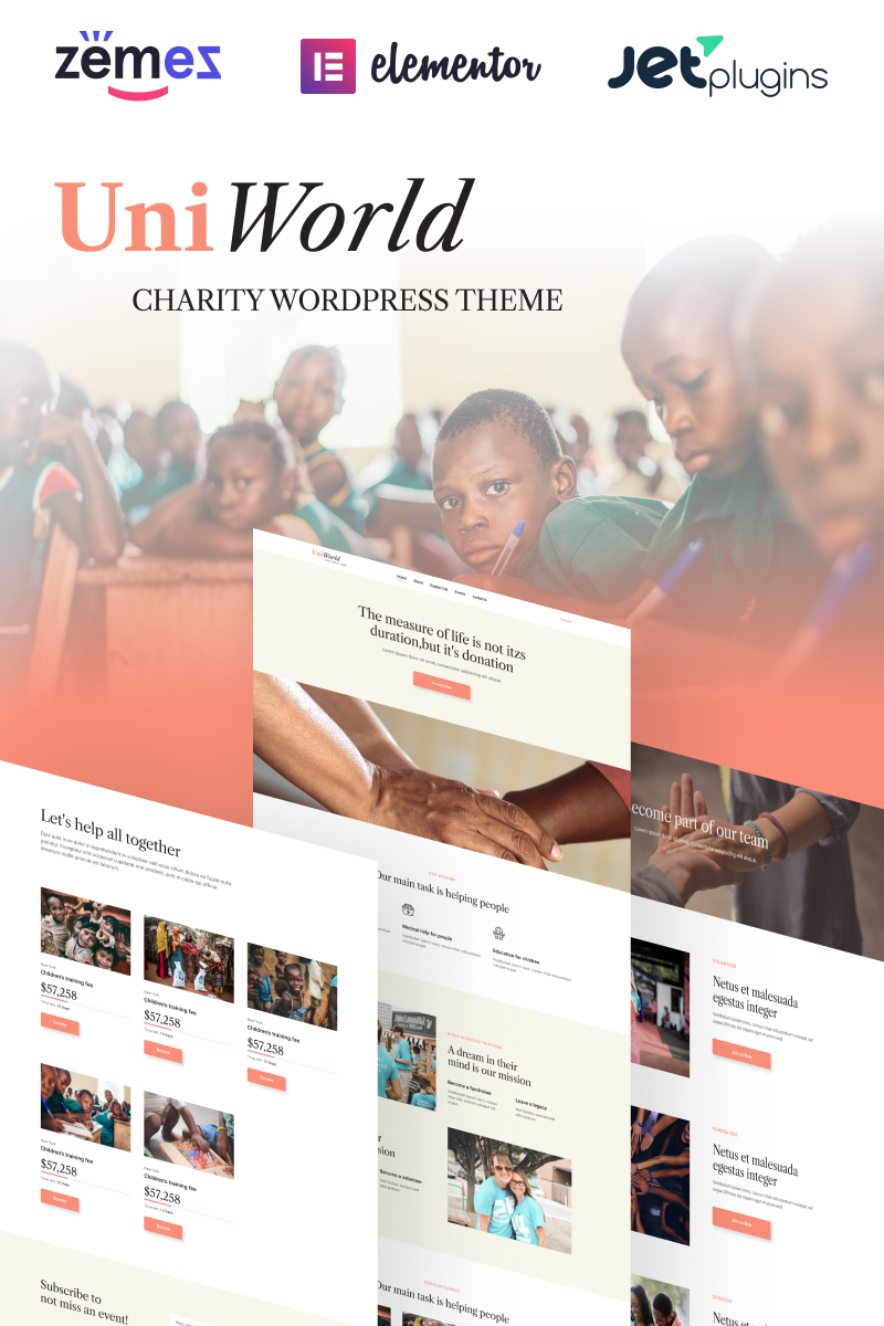"""UniWorld - Donates And Charity"" Responsive WordPress thema №94384"