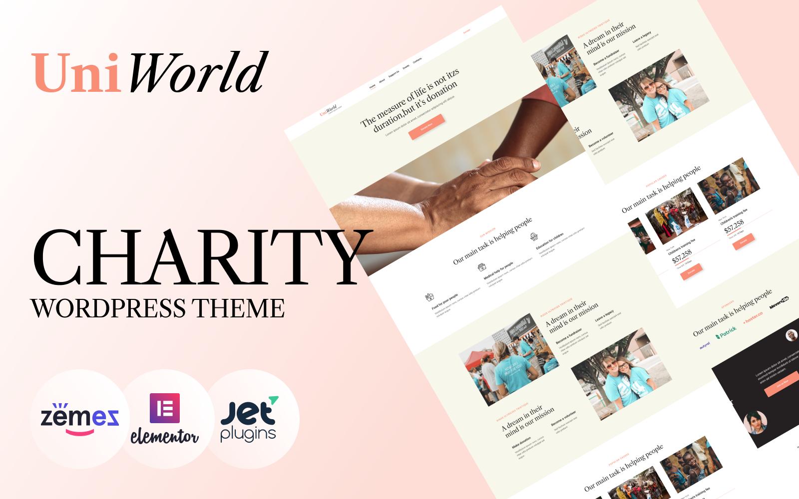 """UniWorld - Donations Charity"" 响应式WordPress模板 #94384"