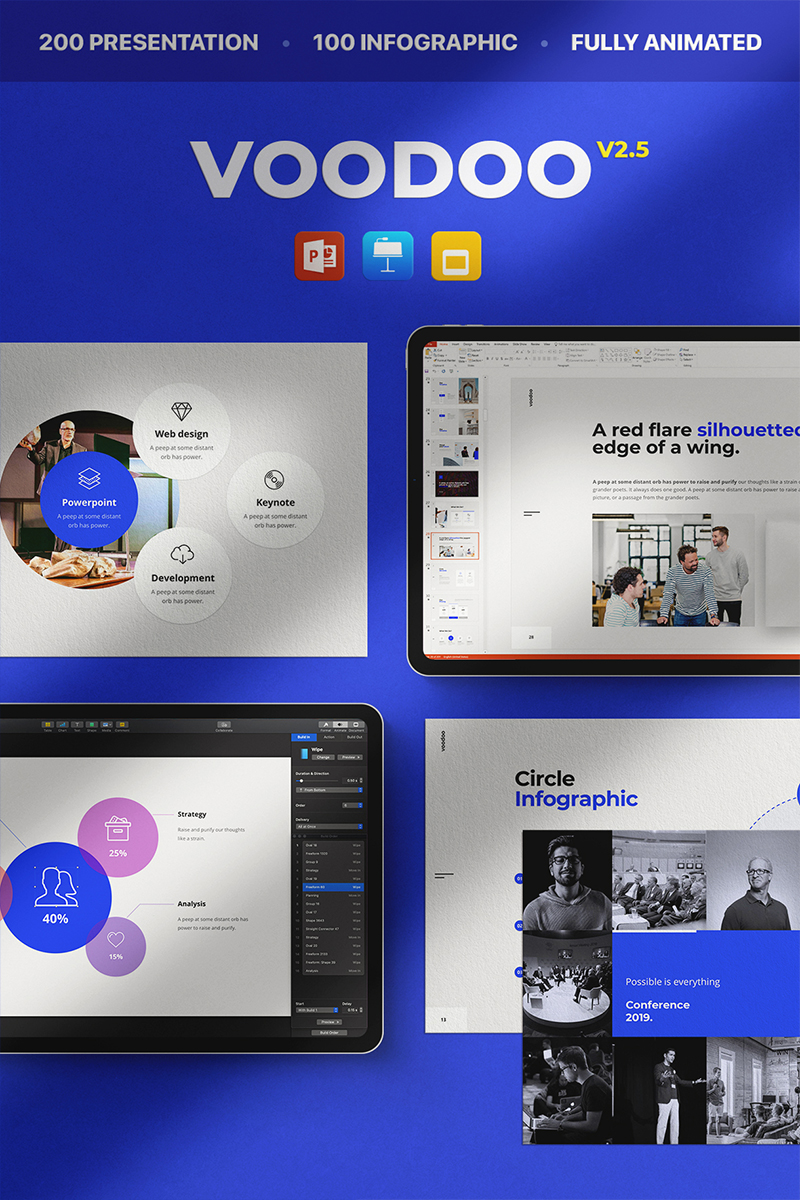 """""""Voodoo v2.5 Keynote, Google Slide,"""" - PowerPoint шаблон №94335"""