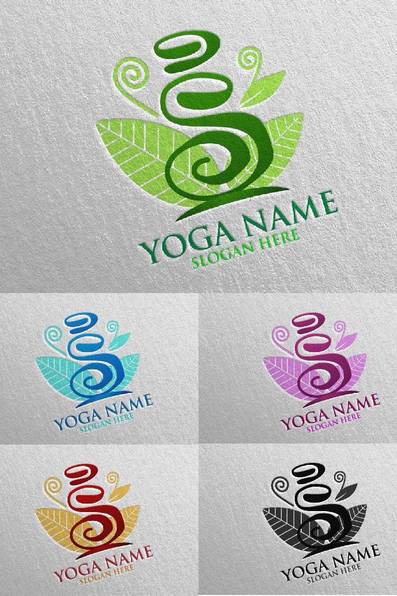 Yoga and Lotus 42 Unika logotyp mall #94314