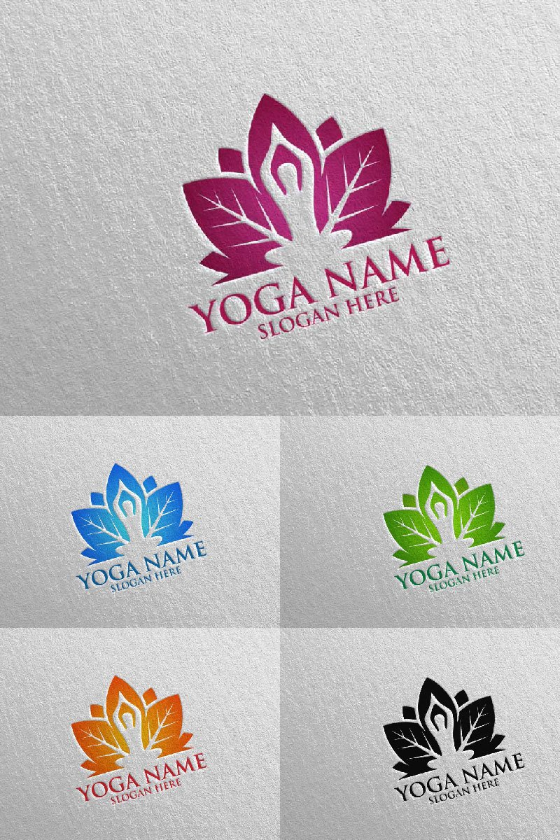 Yoga and Lotus 46 Template de Logotipo №94310