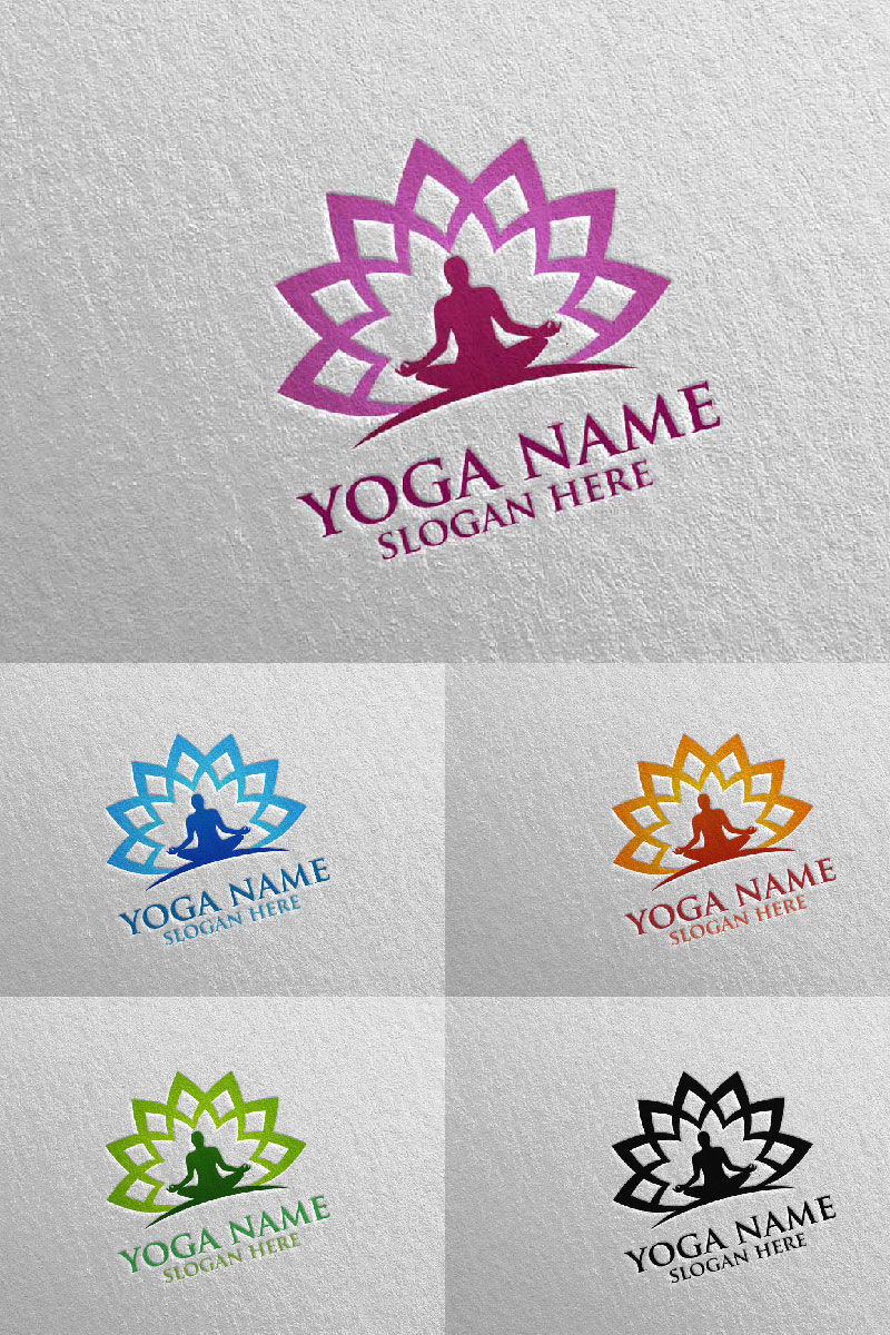 Yoga and Lotus 47 Template de Logotipo №94309
