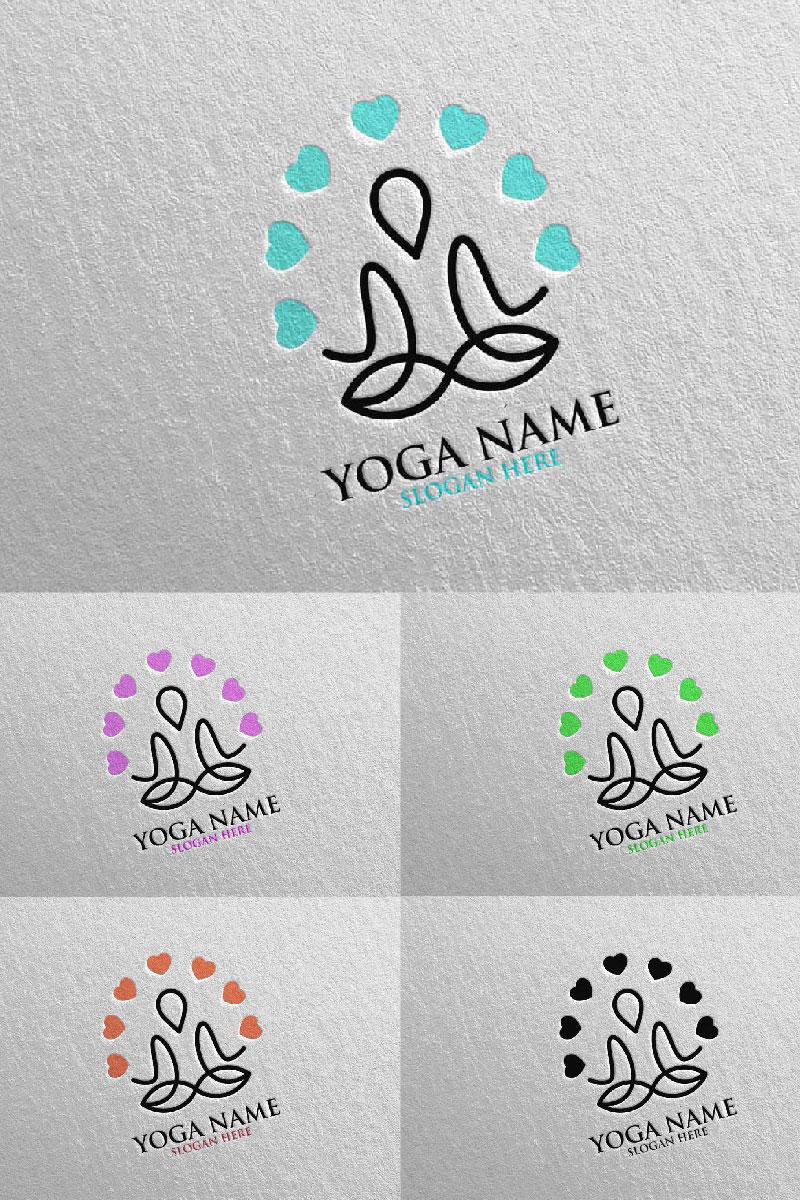 """""""Yoga and Lotus 48"""" Logo template №94308"""