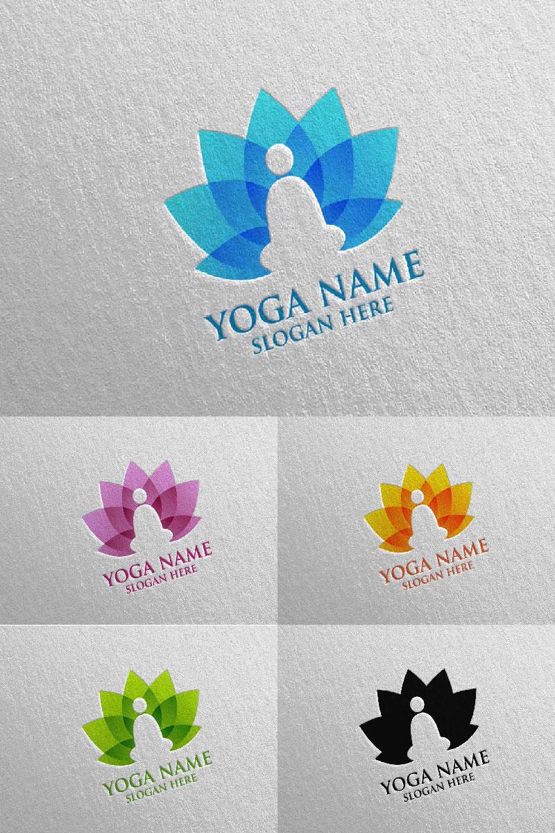 """""""Yoga and Lotus 50"""" Logo template №94304"""