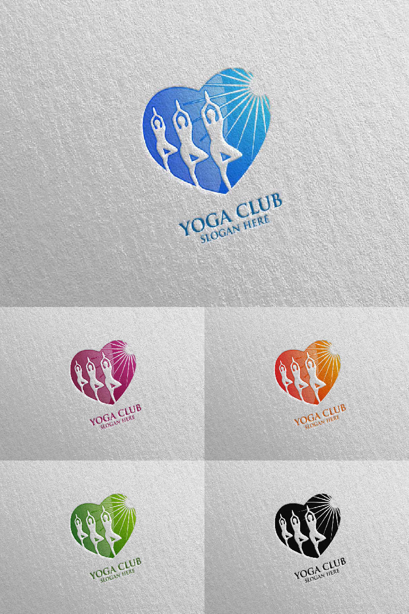 """Yoga and Lotus 52"" Logo template №94302"