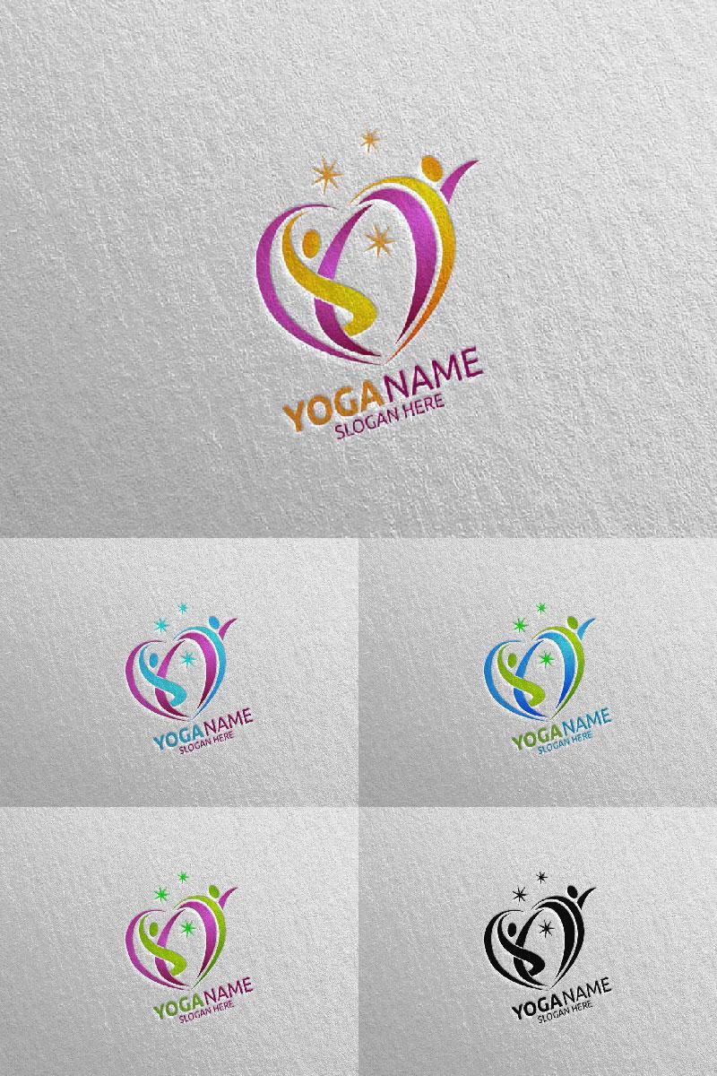 """""""Yoga and Lotus 53"""" Logo template №94301"""