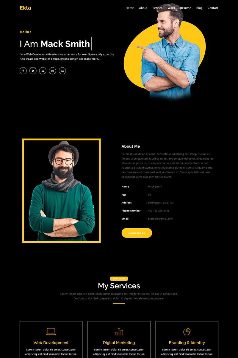 Ekla Personal Portfolio Landing Page Template