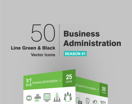 50 Business Administration Line Green & Black Icon Set