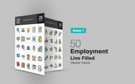 50 Employment Filled Line Icon Set