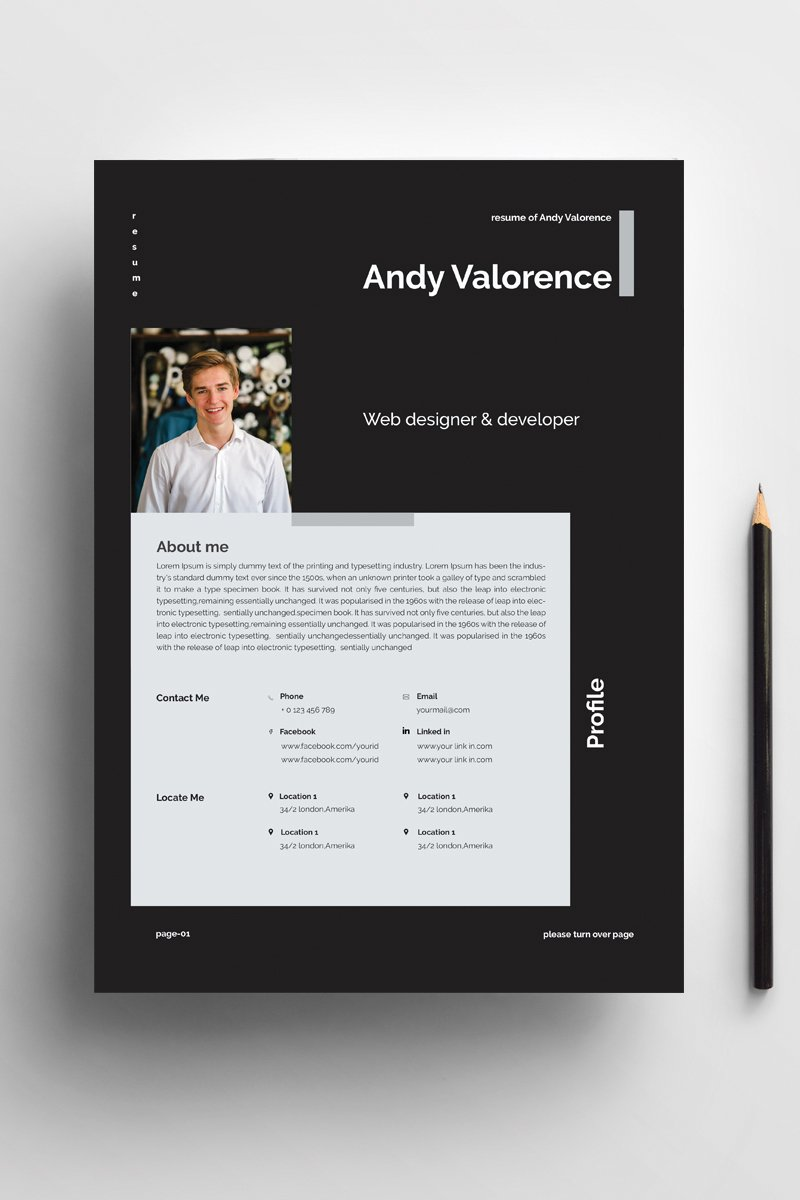 Andy - clean & colorful word Resume Template #94422 - skärmbild