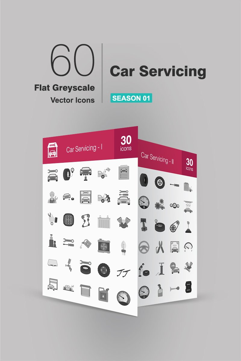 60 Car Servicing Flat Greyscale Iconset-mall #94484